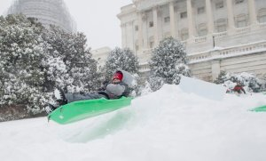 UNITED STATES - JANUARY 23: Sledders took to the slopes of the West Front of the Capitol on Saturday morning, Jan. 223, 2016, as snow continued to pile up around the Washington area.  (Photo By Bill Clark/CQ Roll Call)