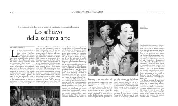 Akira Kurosawa Articolo Osservatore Romano